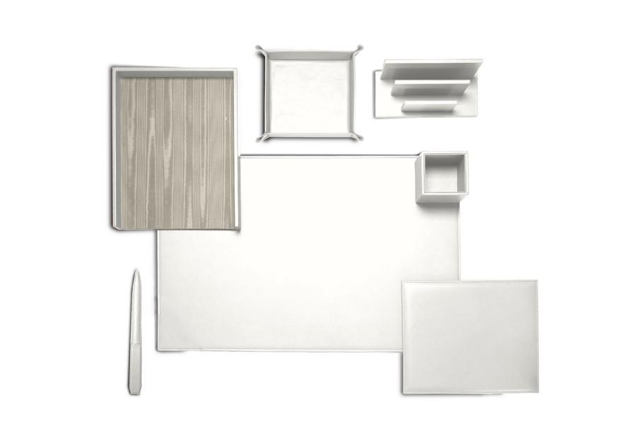 set de bureau pr sidentiel blanc cuir lisse bureau. Black Bedroom Furniture Sets. Home Design Ideas