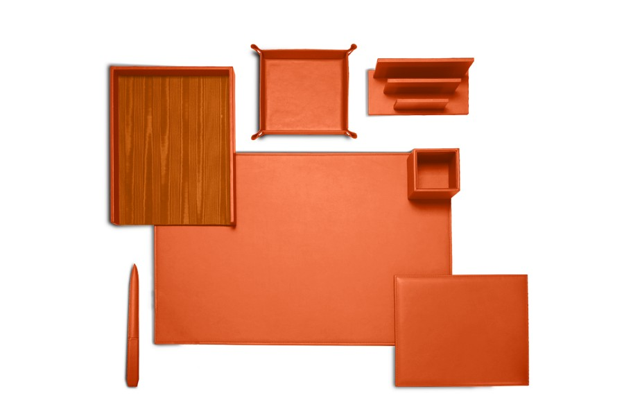 set de bureau pr sidentiel en cuir orange cuir lisse. Black Bedroom Furniture Sets. Home Design Ideas