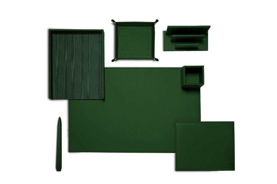 set de bureau pr sidentiel vert fonc cuir lisse. Black Bedroom Furniture Sets. Home Design Ideas